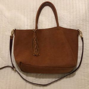 Brown Deux Lux tote with gold tones